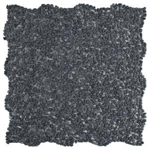 Pebblini Mini Graphite 12 in. x 12 in. Pebble Stone Mosaic Tile (10.63 sq. ft. / Case)