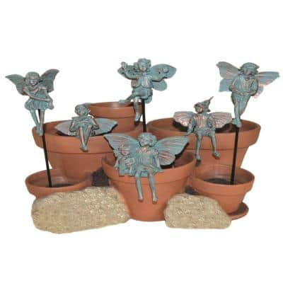 5 in. Fairy Pot Sitters/Plant Stake Bronze Patina (Set of 6)