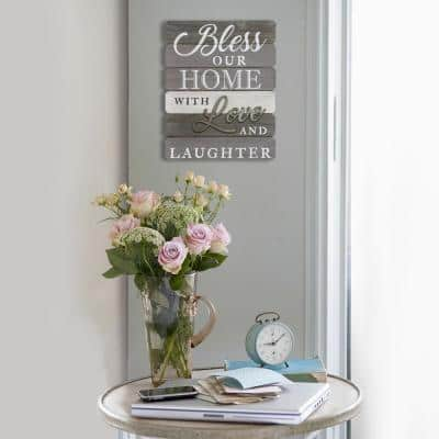 """""""Bless our home with love and laughter"""" Wall Art"""