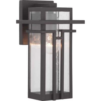 Boxwood Collection 1-Light Antique Bronze Clear Seeded Glass Craftsman Outdoor Small Wall Lantern Light