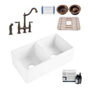 Brooks II All-in-One Farmhouse Fireclay 33 in. 50/50 Double Bowl Kitchen Sink with Pfister Bridge Faucet and Drains