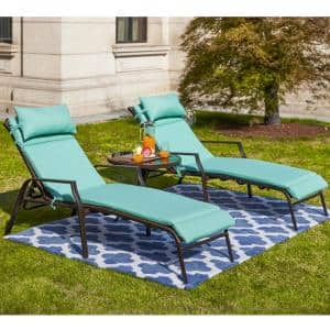 3-Piece Metal Outdoor Chaise Lounge with Aqua Cushions