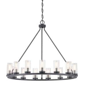Hartwell 15-Light Graphite Chandelier with Antique Nickel Accents and Clear Seeded Glass