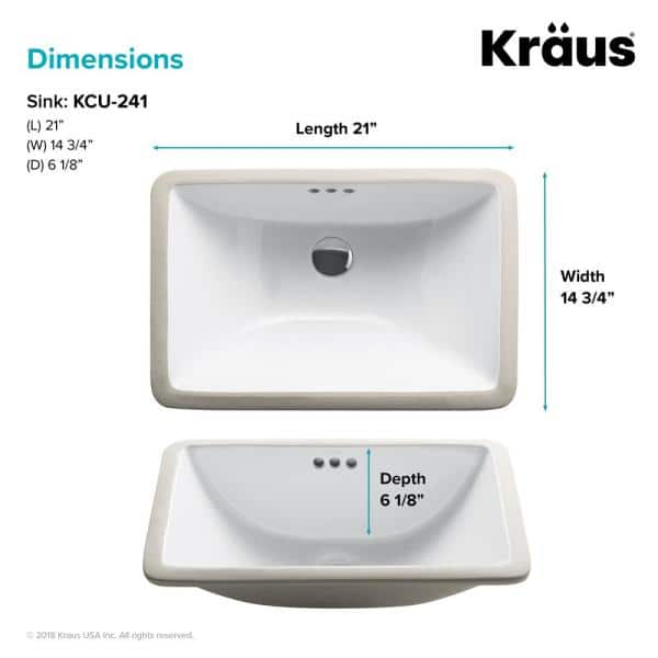Kraus Elavo 21 In Rectangular Undermount White Porcelain Ceramic Bathroom Sink With Overflow 2 Pack Kcu 241 2pk The Home Depot
