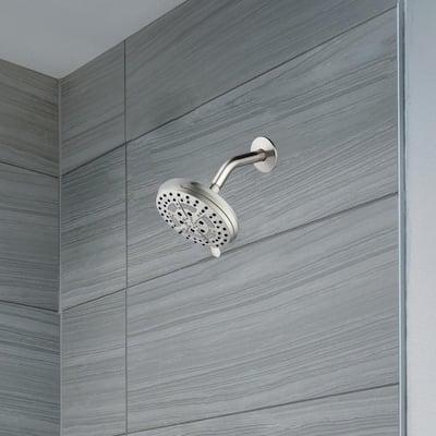 Mills Modern 7 in. Wall Mounted 6-Function Fixed Showerhead for Bathroom, Satin Nickel