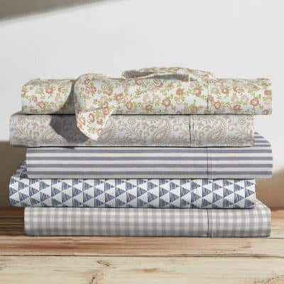 Printed Cotton Sheet Set, Triangles Navy-Full