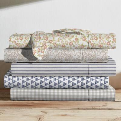 Printed Cotton Sheet Set, Gingham Grey-King