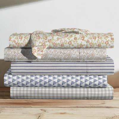 Printed Cotton Sheet Set, Chambray Stripe Light Blue-King
