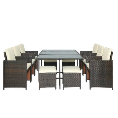 11-Piece Outdoor Rattan Wicker Patio Dining Table Set with Beige Cushions