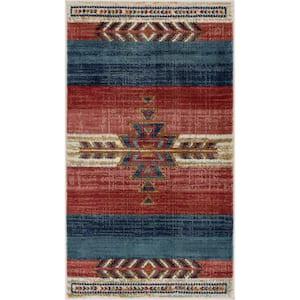 Tulsa Dustin Southwestern Tribal Medallion Crimson 2 ft. 3 in. x 3 ft. 11 in. Mat Accent Rug