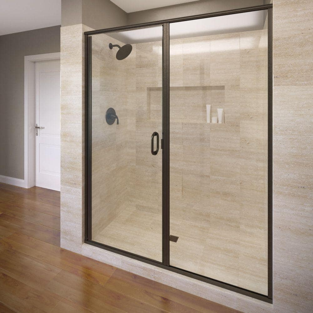 Basco Infinity 46 In X 72 1 8 In Semi Frameless Hinged Shower Door In Oil Rubbed Bronze With Clear Glass Infh35a4672clor The Home Depot