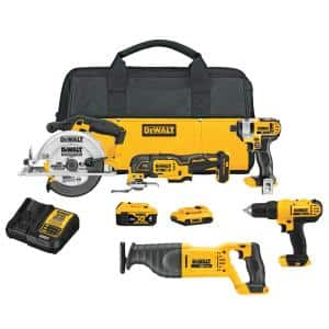 20-Volt MAX Cordless Combo Kit (5-Tool) with (1) 20-Volt 4.0Ah Battery, (1) 20-Volt 2.0Ah Battery & Charger