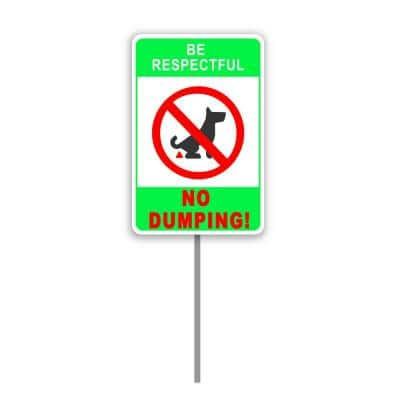 8 in. x 12 in. No Pooping Dog Yard Sign No Dumping Pet Sign with 24 in. Stake