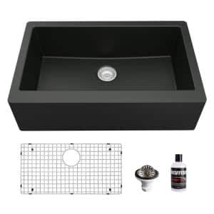QA-740 Quartz/Granite 34 in. Single Bowl Farmhouse/Apron Front Kitchen Sink in Black with Bottom Grid and Strainer