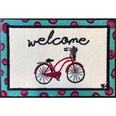 Whimsy Bicycle Welcome 20 in. x 30 in. Nylon Doormat
