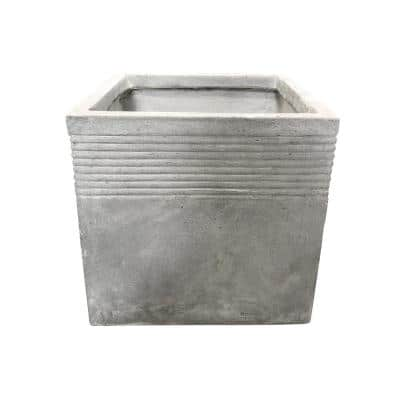 Large 17.7 in. Tall Natural Lightweight Concrete Modern Square Outdoor Planter