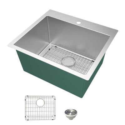 25 in. x 22 in. x 12 in. Stainless Steel Drop-in or Undermount Laundry/Utility Sink Kit with Accessories