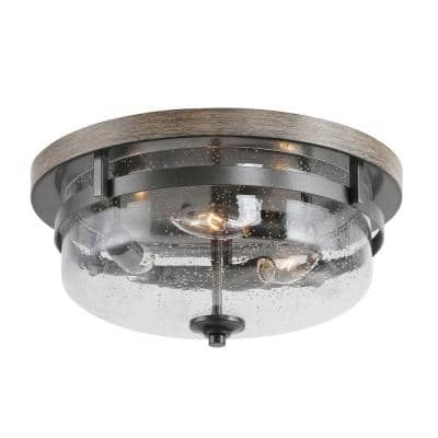 13.5 in. 3-Light Farmhouse Black Semi-Flush Mount Ceiling Light with Seed Glass Shade