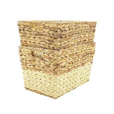 16 in. D x 11.5 in. W x 10 in. H Wicker Baskets with Handles (Set of 2)