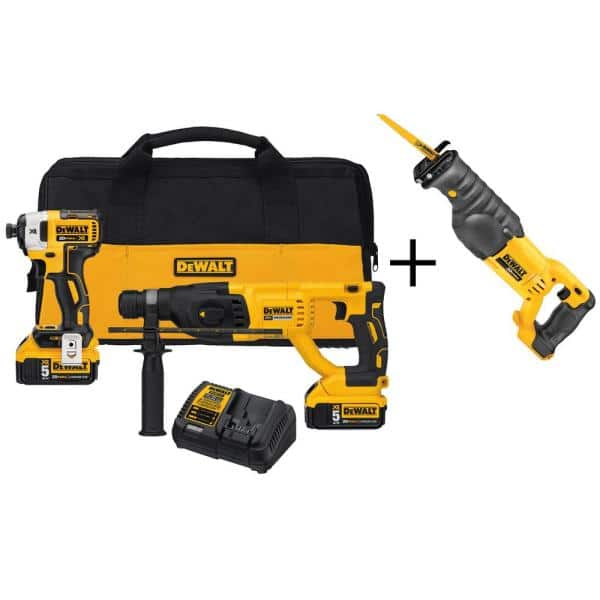 DEWALT 20-Volt Max XR Lithium Ion Cordless Brushless Combo Kit (2-Tool) with Bonus Reciprocating Saw   The Home Depot