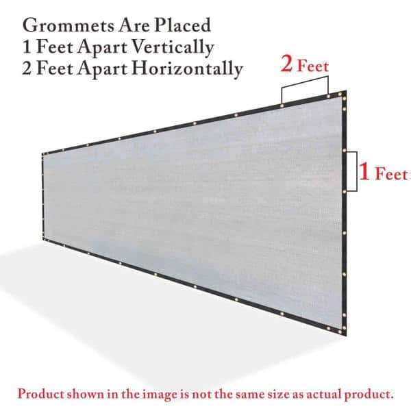Colourtree 6 Ft X 190 Ft Grey Privacy Fence Screen Hdpe Mesh Windscreen With Reinforced Grommets For Garden Fence Custom Size 6x190fs 9 The Home Depot