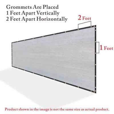 3 ft. x 10 ft. Grey Privacy Fence Screen Mesh Fabric Cover Windscreen with Reinforced Grommets for Garden Fence