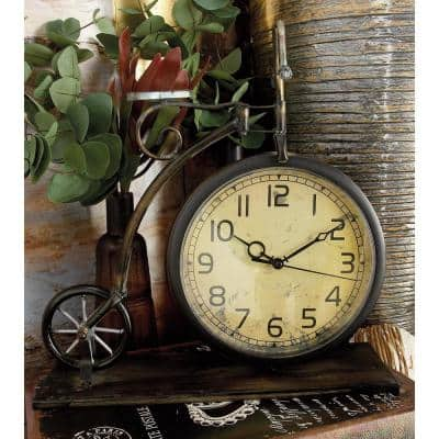 13 in. x 12 in. Brown and Tan Vintage-Style Bicycle Table Clock
