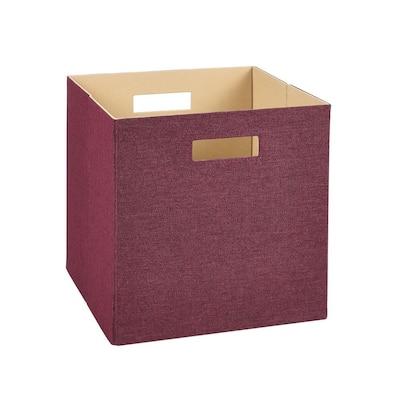 13 in. D x 13 in. H x 13 in. W Red Fabric Cube Storage Bin