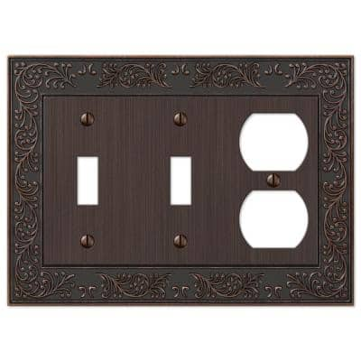 Bleinhem 3 Gang 2-Toggle and 1-Duplex Metal Wall Plate - Aged Bronze