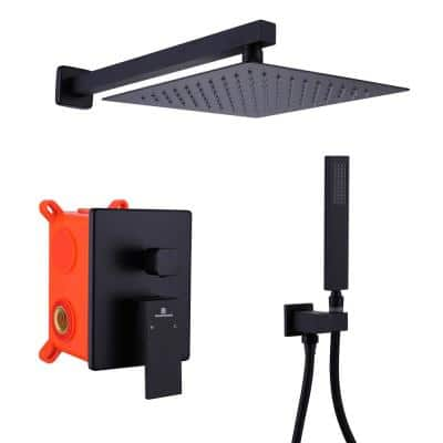 1-Spray Patterns with 2 GPM 10 in. Tub Wall Mount Dual Shower Heads in Matte Black