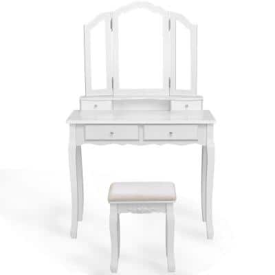 White Wood Bedroom Vanity Makeup Table Stool Set with Tri Folding Mirror