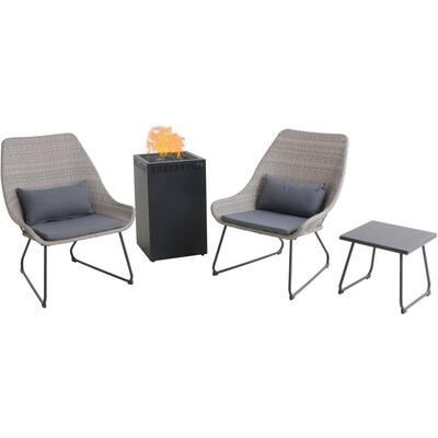 Montauk 4-Piece Wicker Patio Conversation Set with Gray Cushions