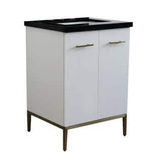 25 in. W x 22 in. D Single Bath Vanity in White with Granite Vanity Top in Black Galaxy with White Rectangle Basin
