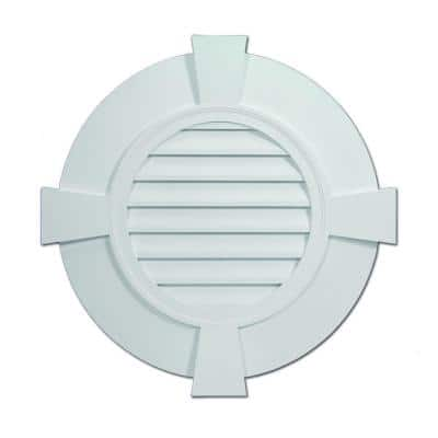 32.843 in. x 32.843 in. Round White Polyurethane Weather Resistant Gable Louver Vent