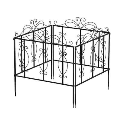 25 in. H x 24 in. W Black Iron Garden Fence Outdoor Thicken Metal Wire Fencing Rustproof (4-Pack)