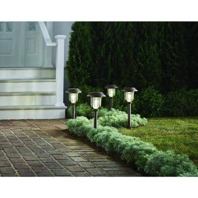 25 Lumens Solar 2-Tone Bronze and Brass  LED Diecast Landscape Pathway Light Set with Vintage Bulb (4-Pack)