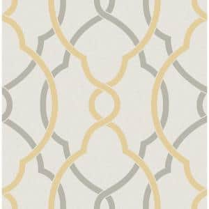 Sausalito Yellow Lattice Paper Strippable Roll Wallpaper (Covers 56.4 sq. ft.)