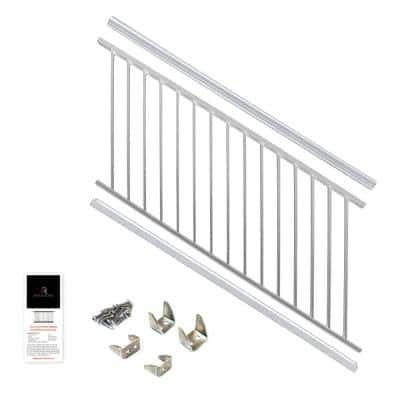 36 in. x 6 ft. White Powder Coated Aluminum Preassembled Deck Stair Railing