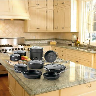 Chef's Classic 17-Piece Hard-Anodized Aluminum Nonstick Cookware Set in Black