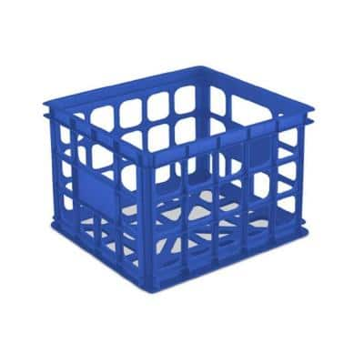 Sterilite 16921C06 Multi-Functional Stackable Organizing Storage Solution Crate, Blue