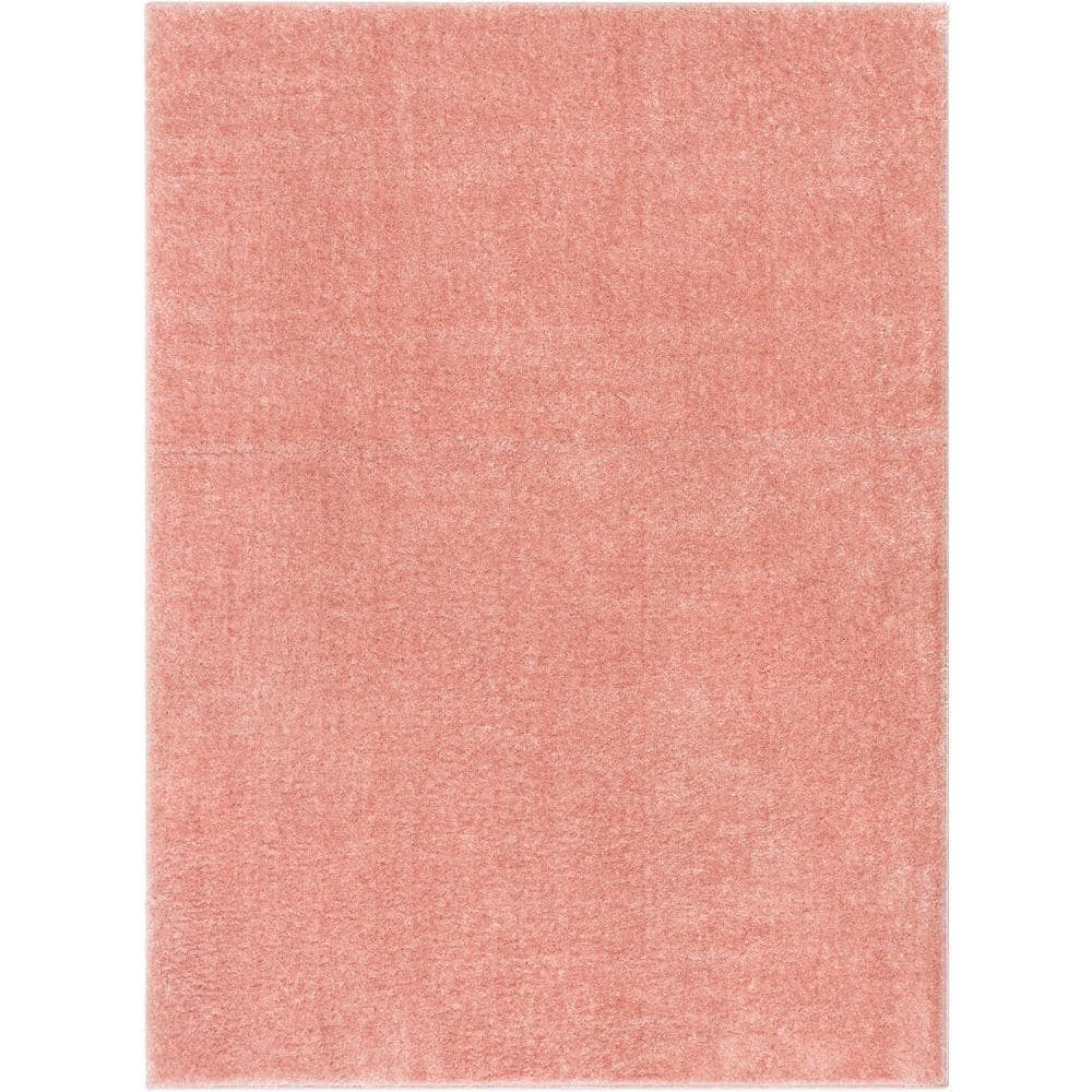 Well Woven Rainbow Chroma Glam Solid Light Pink 7 Ft 10 In X 9 Ft 10 In Multi Textured Shimmer Pile Shag Area Rug Ra 19 7 The Home Depot