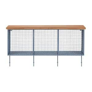 14 in. H x 26 in. W x 7 in. D StyleWell Wood and Steel Blue Metal Wall-Mount Storage Shelf with 4 Hooks