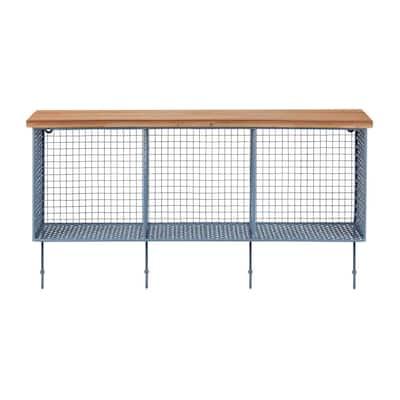 14 in. H x 26 in. W x 7 in. D Wood and Steel Blue Metal Wall-Mount Storage Shelf with 4 Hooks