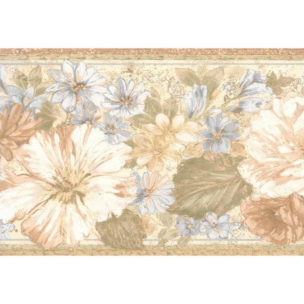 Dundee Deco Falkirk Brin Vintage Flowers Beige Lavender Brown Wallpaper Border Bd6178 The Home Depot