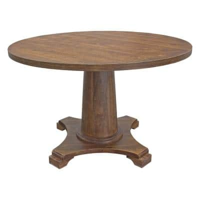 Carey 48 in. Antique Natural Oak Round Dining Table