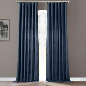 Sergeants Blue Solid Rod Pocket Light Filtering Curtain - 50 in. W x 108 in. L