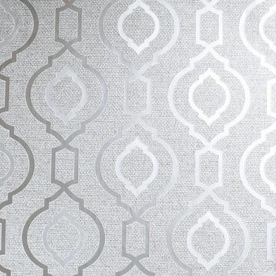 Calico Trellis Grey Textured Vinyl Wallpaper