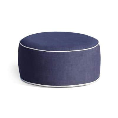 Marlowe Blue Oxford Polyester Outdoor Ottoman