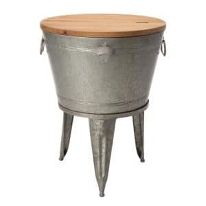 26.29 in. H Gray Galvanized Beverage Tub with Metal Stand or Accent Table with Firwood Lid