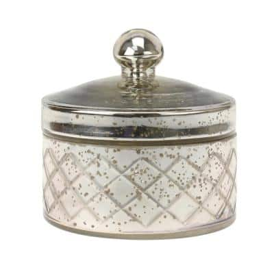 5 in. x 5 in. Antique Mercury Round Textured Glass Trinket Box